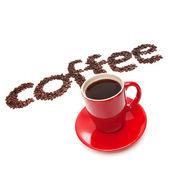 Kavrulmuş fasulye kahve işareti yaptı — Stok fotoğraf