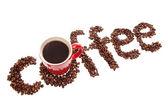 Koffie teken gemaakt van geroosterde bonen — Stockfoto