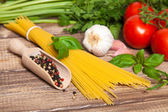 Traditional spaghetti ingredients — Stock Photo