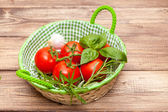 Basil and tomatoes — Stock Photo