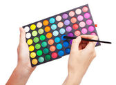 Female hand holding a makeup palette, white background — Stockfoto