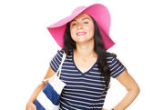 Young beautiful woman in a summer hat — Stock Photo
