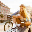 Young stylish woman in a city street — Stock Photo #50985581
