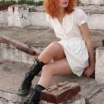 Young beautiful woman in white dress — Stock Photo #5727409