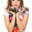 Portrait of a beautiful woman in flower collar — Stock Photo #5727633