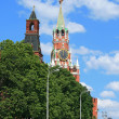 Spasskaya tower of the Moscow Kremlin  at noon - Stock Photo