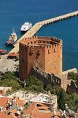 Alanya port and famous Red Tower — Stock Photo