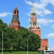 Red Square and clock tower at noon - Stockfoto