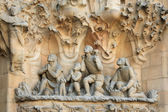 Statues of La Sagrada Familia on May 12, 2013 in Barcelona, Spain — Stock Photo