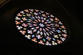 Santa Maria del Pi church stained glass round window — Stock Photo