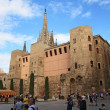 Stock Photo: Tourists look at Barceloncathedral facade
