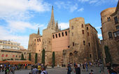 Tourists look at Barcelona cathedral facade — Stock Photo