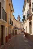 Old Narrow Street and Stairs Sidewalk in Biar Alicante Spain — Stock Photo