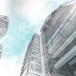 Stock Photo: Sketch of business center.