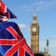Big Ben with flag - Stockfoto