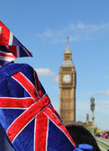 Big Ben with flag — Stock Photo