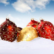 Christmas gold and red bauble — Stock Photo #13884256