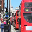 Stock Photo: LONDON - Red double decker buses