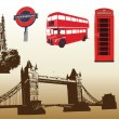 Stock Vector: Various landmarks of London