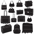 Travel bags and suitcases collection — Imagen vectorial
