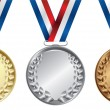 Stock Vector: Three medals, Gold, Silver and bronze for the winners