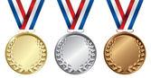 Drie medailles, goud, zilver en brons voor de winnaars — Stockvector