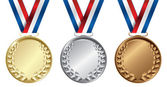 Three medals, Gold, Silver and bronze for the winners — Stock Vector