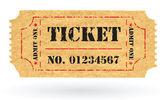 番号を持つ古いベクトル ヴィンテージ紙の航空券 — ストックベクタ