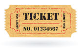 Old Vector vintage paper ticket with number — Stock vektor