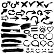 Collection of black grungy vector abstract hand-painted brush - Imagen vectorial