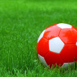 Soccer football and green grass — Stock Photo