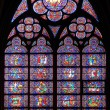 Paris, France - famous Notre Dame cathedral stained glass. - Stock Photo