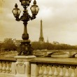 Parisian streets picture in vintage painting style - Photo