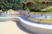 Ceramic bench in Park Guell in Barcelona — Stock Photo