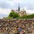 Pont de l Archeveche with love padlocks in Paris — Stock Photo #28242341