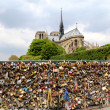 Pont de l Archeveche with love padlocks in Paris — Stock Photo
