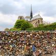 Pont de l Archeveche with love padlocks in Paris — Stock Photo
