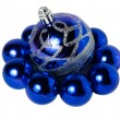 Nine blue Christmas balls — Stock Photo