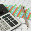 Calculation and analysis of graphs and charts - Stock Photo