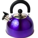 Blue modern metal teapot isolated on white background — Stock Photo #24868125