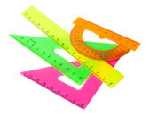 Set: ruler, triangle, protractor — Foto Stock