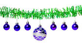 Garland of green tinsel and blue Christmas balls — Stock Photo