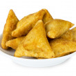 Midle Asian pies with meat (samsa) on plate — Stock Photo #44380369