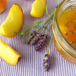 Peach jam with lavender - Stock Photo