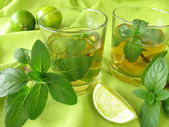 Ice tea with lemon mint — Stock Photo