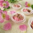 Handmade soap pralines with wild rose flowers - Stock Photo