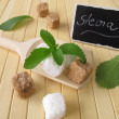 Sugar cubes and stevia with nameplate — Stock Photo
