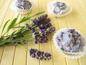 Handmade soap pralines with lavender — Stock Photo