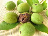 Green walnuts — Stock Photo