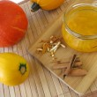 Squash jam with cinnamon and orange peel - Stock Photo